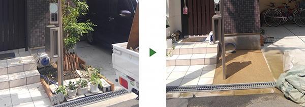 大阪庭作り固まる土